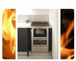 Cucina a legna da incasso con finiture inox installata a San Daniele del Friuli (UD).