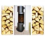 Stufa a legna con focolare orientabile.