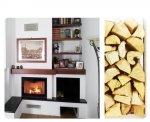 Piano in marmo nero, trave in legno, rivestimento in cartongesso ignifugo.Risano (UD).