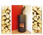 Stufa a legna con motore per canalizzazione aria, installata a Fontanafredda (PN).
