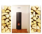 Stufa-caminetto con focolare girevole: aperto, vetrato, fuoco continuo. Installato aFagagna (UD).